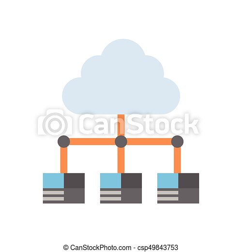 Cloud Data Center Icon Computer Connection Hosting Server Database Synchronize Technology - csp49843753