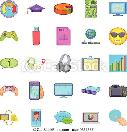 Cloud database icons set, cartoon style