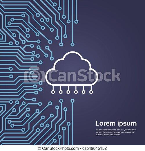 Cloud Database Over Computer Chip Moterboard Background Data Center System  Concept Banner