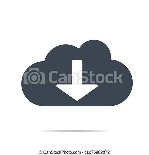 Cloud download icon. Download icon, digital cloud, music, video upload, media application, phone, computer - csp76982872
