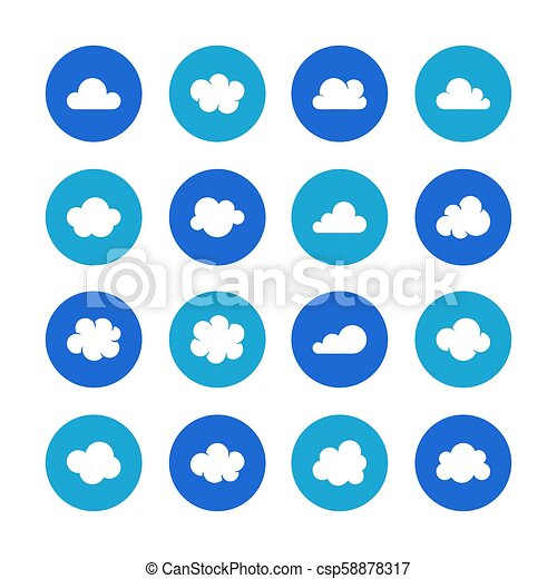 Cloud Flat Glyph Icons Clouds Symbols For Data Storage Weather