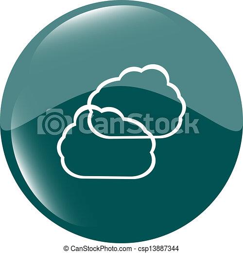Cloud green icon button - csp13887344