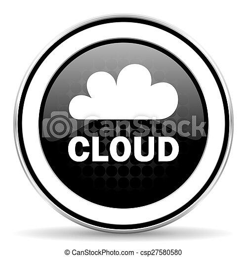 cloud icon, black chrome button - csp27580580