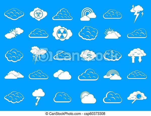Cloud icon blue set - csp60373308