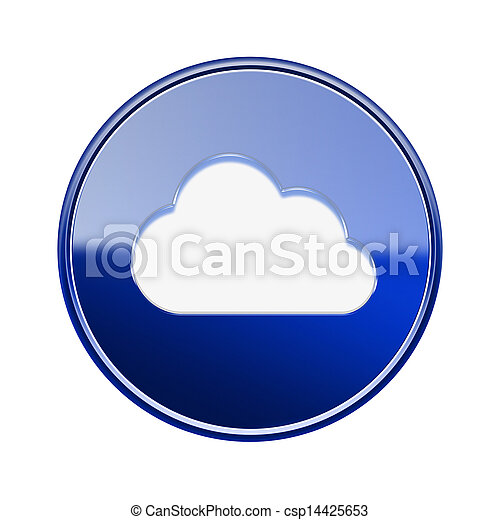Cloud icon glossy blue, isolated on white background - csp14425653