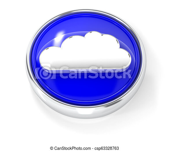 Cloud icon on glossy blue round button - csp63328763