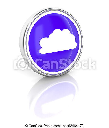 Cloud icon on glossy blue round button - csp62464170