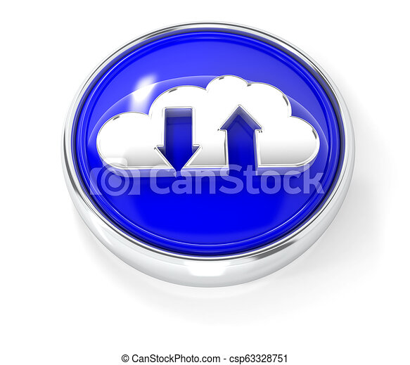 Cloud icon on glossy blue round button - csp63328751