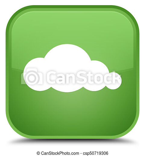 Cloud icon special soft green square button - csp50719306