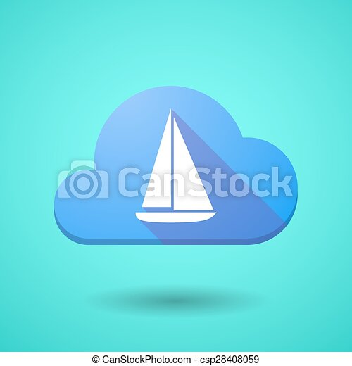 Cloud icon with a ship - csp28408059
