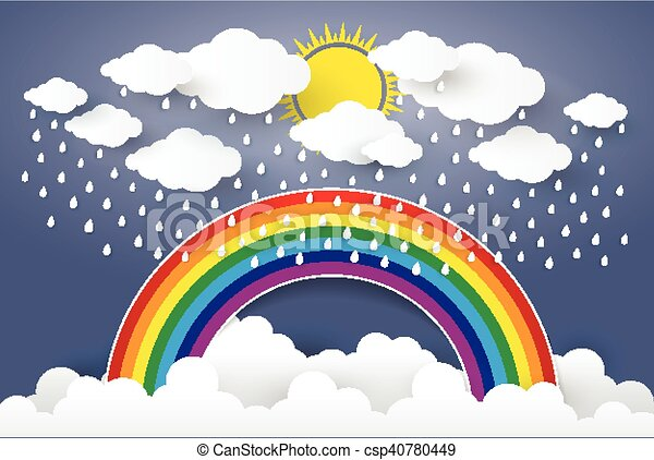 cloud in blue sky with rain and rainbow paper art style vector