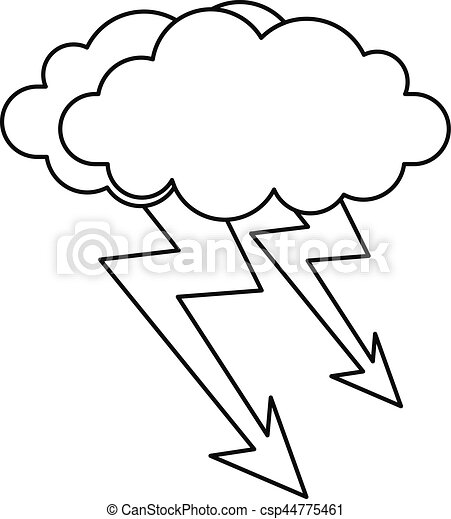 cloud lightning icon outline style cloud lightning icon clip rh canstockphoto com  lightning bolt and cloud clipart