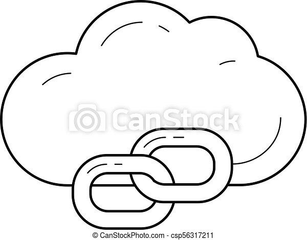 Cloud link line icon