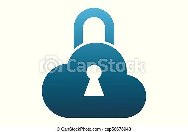 cloud lock logo vector - csp56678943