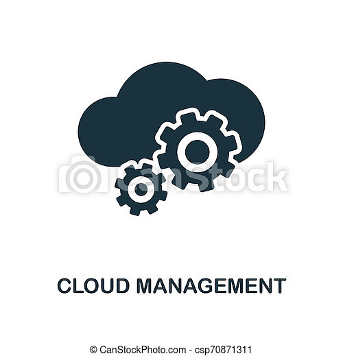 Cloud Management icon. Monochrome style design from big data icon collection. UI. Pixel perfect simple pictogram cloud management icon. Web design, apps, software, print usage. - csp70871311