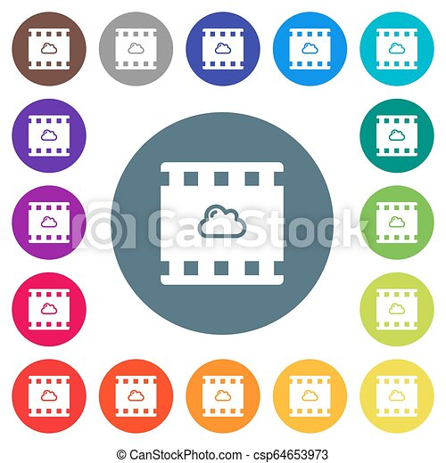 Cloud movie flat white icons on round color backgrounds - csp64653973