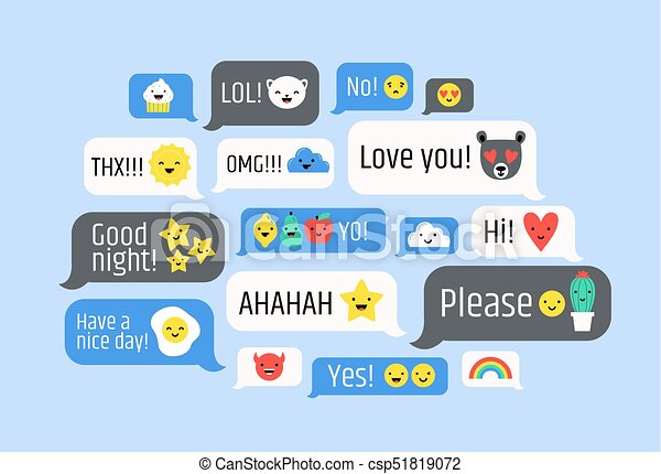 Cloud of messages with cute emoji  Speech bubbles with text and smileys   Ideograms or funny symbols to express different emotions in electronic