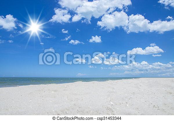 cloud on blue sky over the beach. - csp31453344