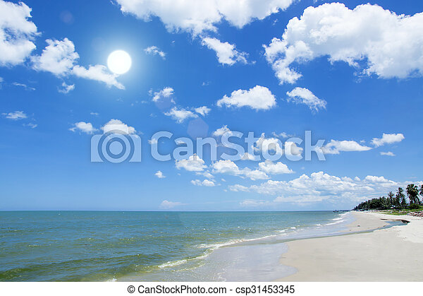 cloud on blue sky over the beach. - csp31453345