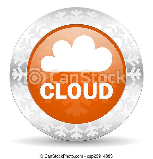 cloud orange icon, christmas button - csp23914885