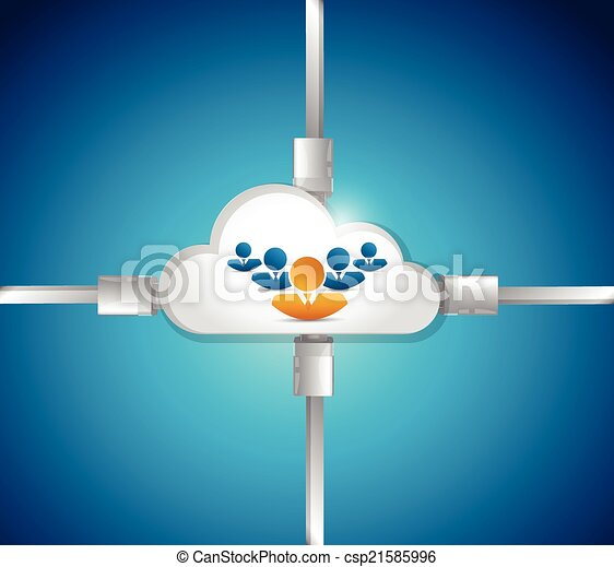 cloud people connection illustration - csp21585996
