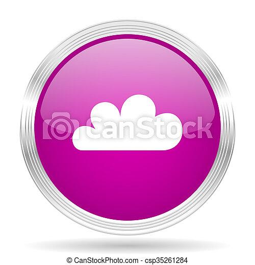 cloud pink modern web design glossy circle icon - csp35261284