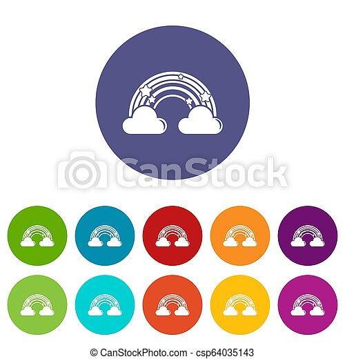 Cloud rainbow icons set color - csp64035143