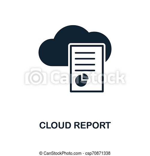 Cloud Report icon. Monochrome style design from big data icon collection. UI. Pixel perfect simple pictogram cloud report icon. Web design, apps, software, print usage. - csp70871338
