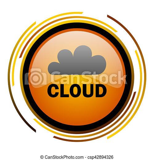 cloud round design orange glossy web icon - csp42894326