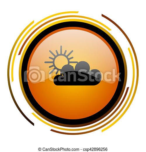 cloud round design orange glossy web icon - csp42896256