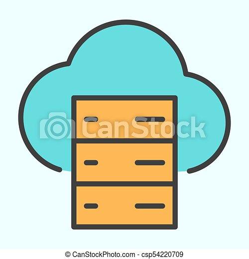 cloud server line icon vector simple minimal 96x96 pictogram cloud