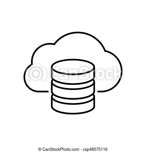 cloud server outline icon on white background