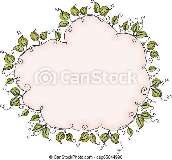 Cloud Shaped Leaves Border Frame Scalable Vectorial Representing A Cloud Shaped Leaves Border Frame Element For Design