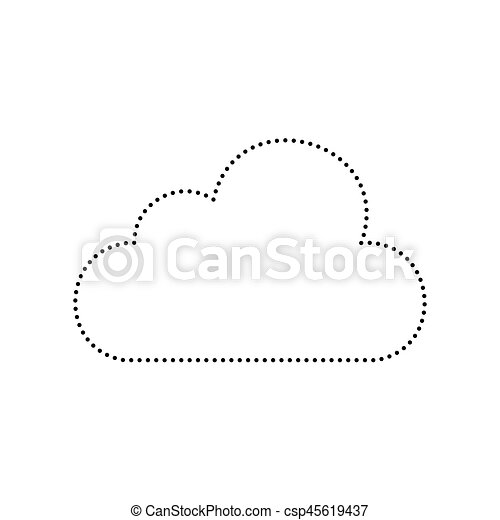 Cloud sign illustration. Vector. Black dotted icon on white background. Isolated. - csp45619437