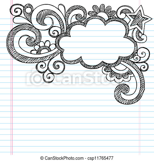 Cloud Sketchy Doodle Picture Frame - csp11765477