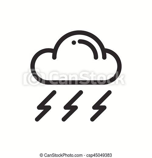 Cloud Sky Rain Storm Line Simple Icon Weather Symbols Vector
