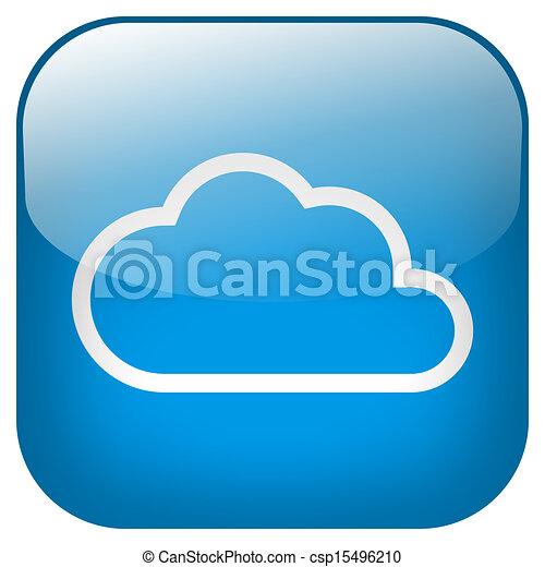 Cloud Square blue Button - csp15496210