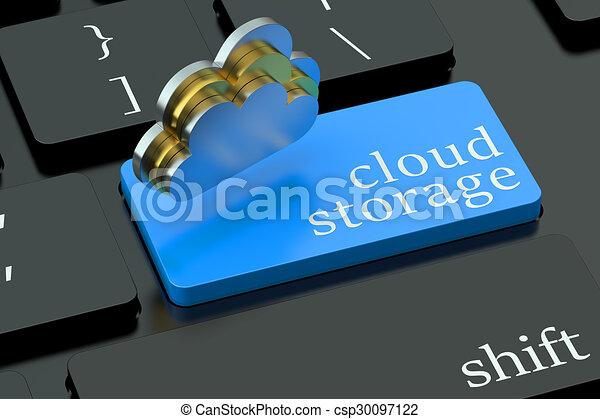Cloud storage concept on blue keyboard button - csp30097122