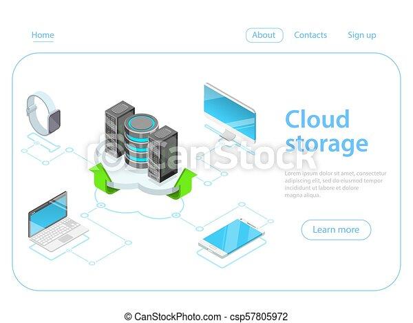 Cloud storage flat isometric vector concept