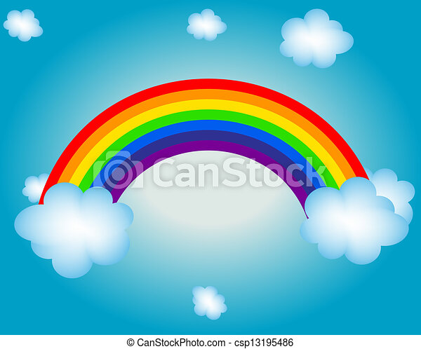 cloud, sun, rainbow vector illustration background - csp13195486