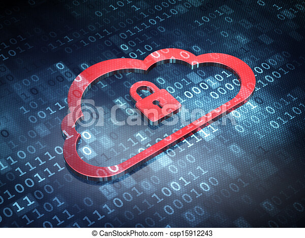 Cloud technology concept: Red Cloud With Padlock on digital background, 3d render - csp15912243