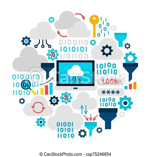 Cloud Technology Icons Circle - csp75246854