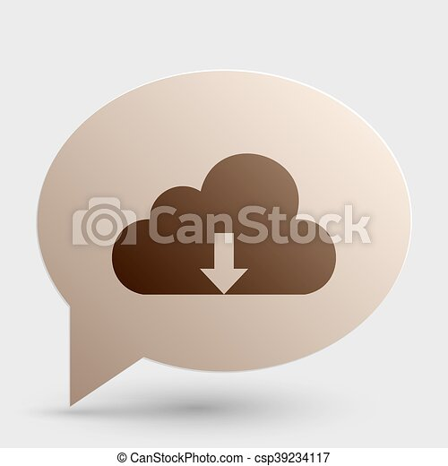 Cloud technology sign. Brown gradient icon on bubble with shadow. - csp39234117