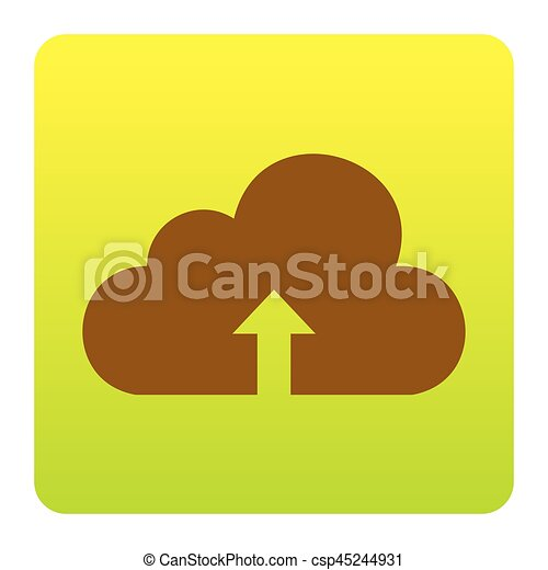Cloud technology sign. Vector. Brown icon at green-yellow gradient square with rounded corners on white background. Isolated. - csp45244931
