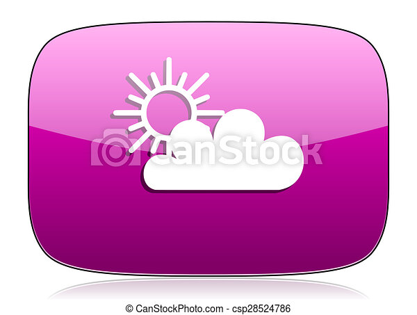 cloud violet icon waether forecast sign - csp28524786