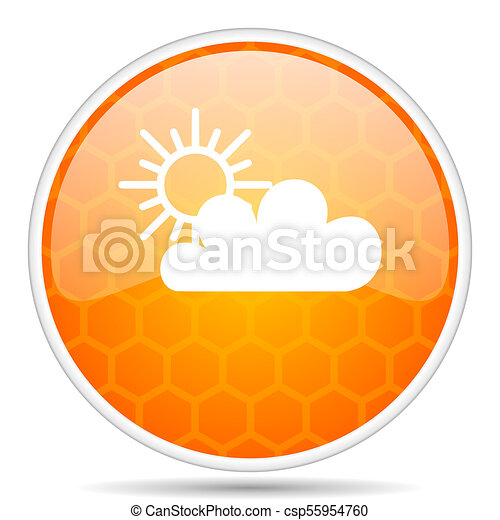 Cloud web icon. Round orange glossy internet button for webdesign. - csp55954760