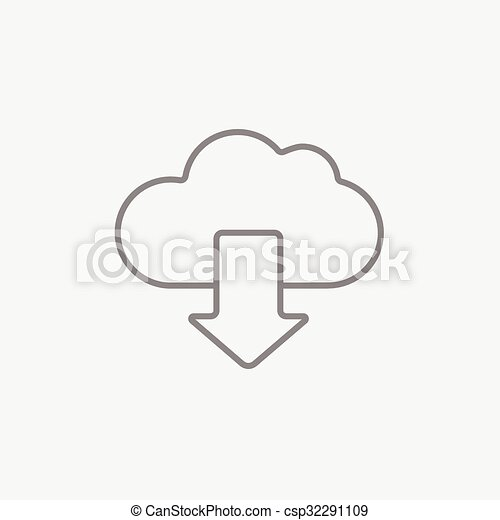 Cloud with arrow down line icon. - csp32291109
