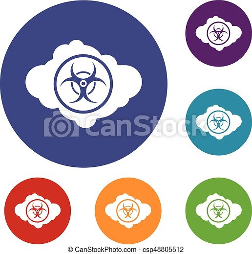 Cloud With Biohazard Symbol Icons Set In Flat Circle Reb Blue And