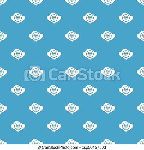 Cloud With Biohazard Symbol Pattern Seamless Blue