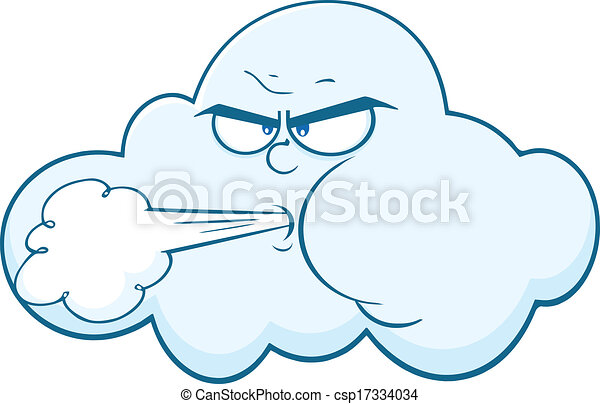Cloud With Face Blowing Wind - csp17334034